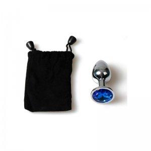 Metal Plug Anal Pequeño Azul con Bolsa
