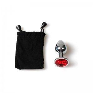 Plug Anal Metal Mediano Rojo con Bolsa