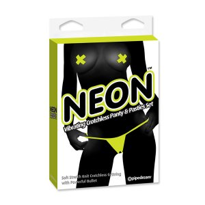 Tanga Vibrador y Pasties Amarillo de Neon