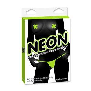 Tanga Vibrador y Pasties Verde de Neon
